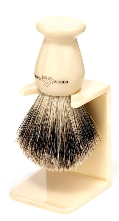 Edwin-Jagger-Best-Badger-Shaving-Brush-With-Drip-Stand,-Imitation-Ivory,-Medium