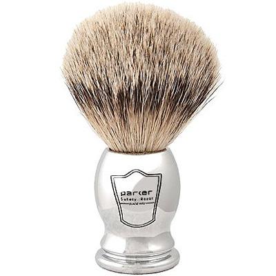 Parker-Safety-Razor-100-Silvertip-Badger-Bristle-Shaving-Brush-(Chrome-Handle)-and-Free-Shaving-Brush-Stand