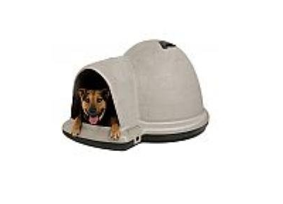 Petmate-Indigo-Dog-House-with-Microban,-Medium,-Taupe-Top,-Black-Bottom