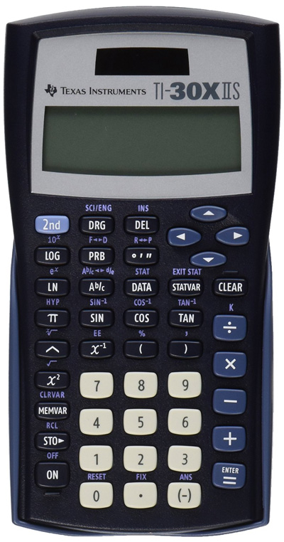 Texas-Instruments-TI-30X-IIS-2-Line-Scientific-Calculator,-Black-with-Blue-Accents
