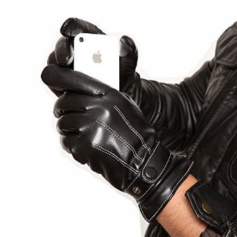 Warmen-Men's-Touch-Screen-Nappa-Leather-Winter-Driving-Gloves-Iphone-Ipad