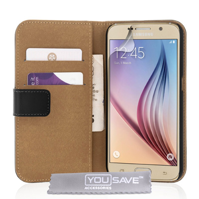 Yousave-Accessories-Black-Genuine-Leather-Wallet-Cover