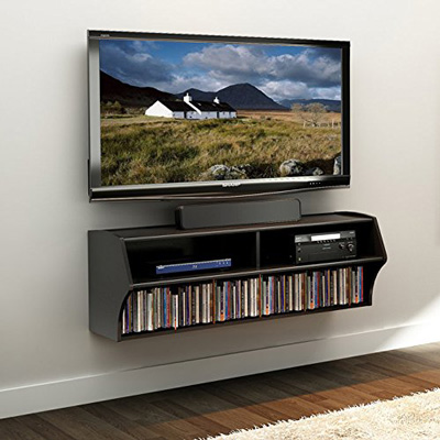 9. Altus Wall Mounted Audio/Visual Console in Black by Prepac