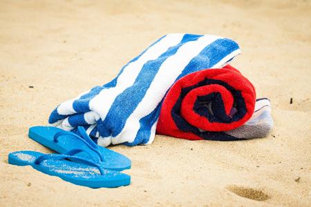 5. Utopia 100% Cotton Beach Towel in Cabana Stripe
