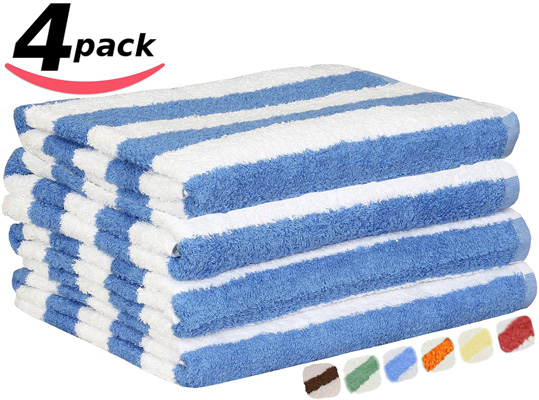 1. Utopia 100% Cotton Beach Towels 4 Pack in Cabana Stripe, Best Wholesale Beach Towels Reviews