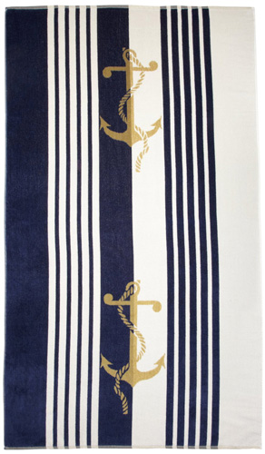 4. Northpoint Newport Anchors Oversized Double Jacquard Plush Velour Beach Towel