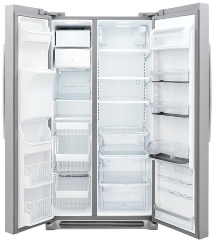 4. 22.6 Cu. Ft. Counter Depth Stainless Steel Side-by-Side Refrigerator by Frigidaire