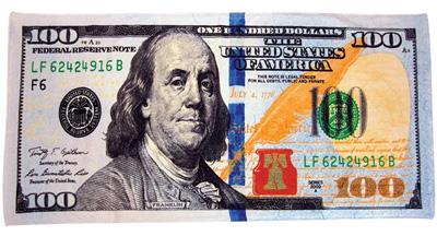 7. New 100 Dollar Bill Velour Brazilian Beach Towel