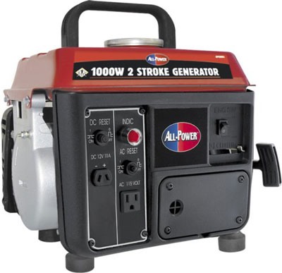 5. All Power America APG3004 1000­Watt 2­Cycle Gas Powered Portable Generator