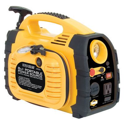 6. Rally 7471 Portable 8 in 1 Power Source and Jumpstart Unit with Hand Generator