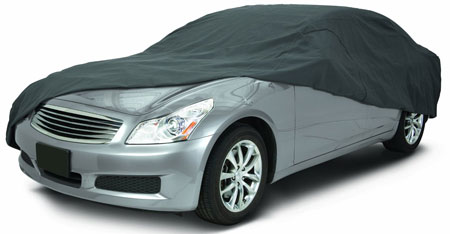 2. Classic Accessories 10-013-251001-00 OverDrive PolyPro III Heavy Duty Mid-Size Sedan Car Cover