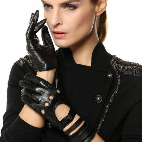 9. Luxury Lane, Women's Cashmere Lined Open Back Leather Driving Gloves
