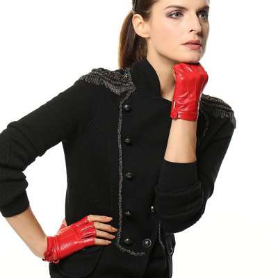 2. Warmens, Women's Nappa Leather Half Fingerless Driving Lined Gloves