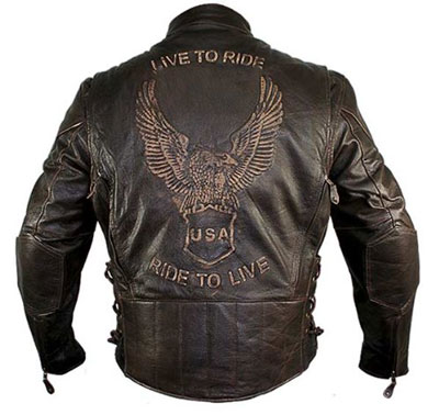 8. Xelement B7244 Mens Retro Brown Premium Buffalo Distressed Leather Embossed Cru - X-Large