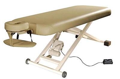 4. Electric Lift Massage Table With Headrest and Arm Shelf, Beige