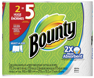 2. Bounty Select-A-Size Paper Towels, Huge Rolls, White