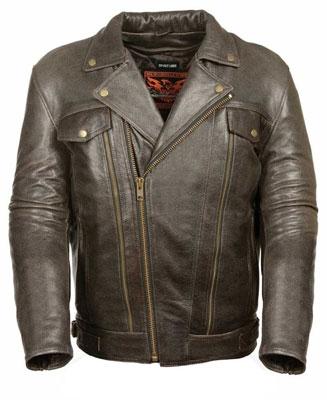 5. Milwaukee Men's Utility Pocket Motorcycle Leather Jacket (Retro Brown, Medium)