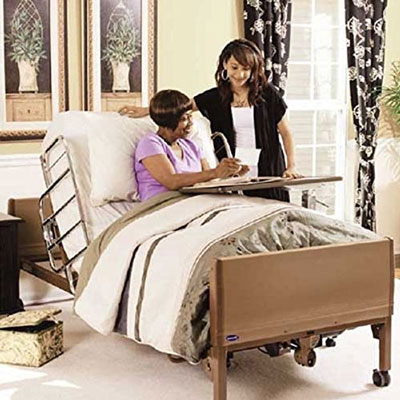 2. Full Electric Hospital Bed Package (Invacare Full Electric Home Hospital Bed Package w/Innerspring Mattress, Half Rail Set)