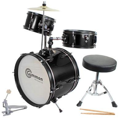 2. Drum Set Black Complete Junior Kid's Children's Size