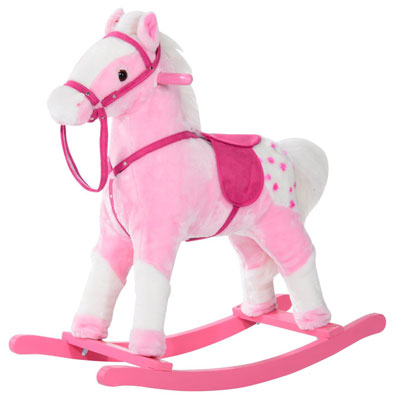 7. Qaba Kids Plush Rocking Horse Pony w/ Realistic Sounds – Pink