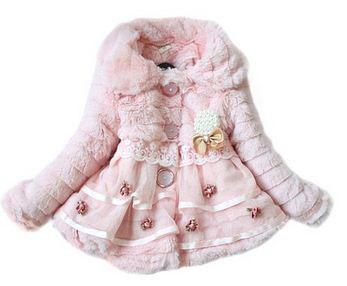 4. Girls Faux Fur Fleece Lapel Coat