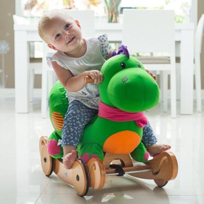 8. Labebe Plush Toys Wooden Rocking Horse Baby Swing-green Dinosaur