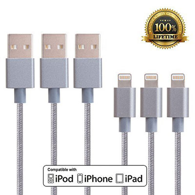 6. Adoric 3pcs Braided Lightning Cable