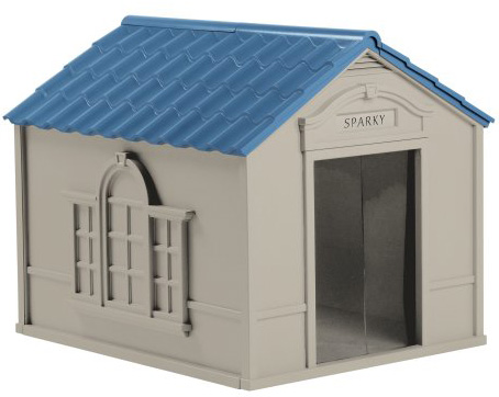 #1. Suncast Large Deluxe Dog House with FREE Doors - DH350