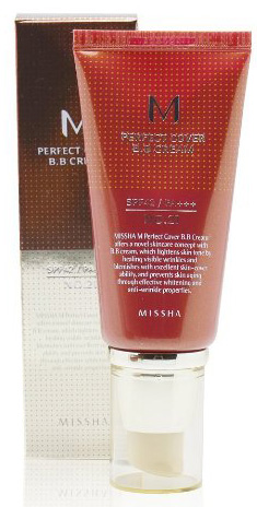 #4. MISSHA M Perfect Cover BB Cream SPF 42 PA Plus 21, Light Beige