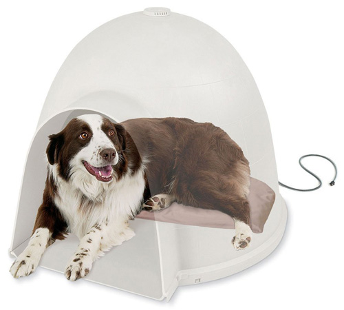 #6. K&H Manufacturing Lectro-Soft Igloo Style Heated Dog Bed Tan