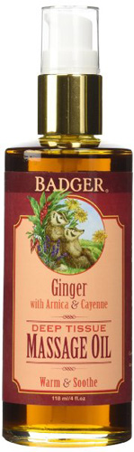 #3. Badger ginger deep tissue massage oil in 4 ounce container