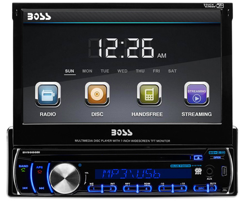 #2. BOSS AUDIO BV9986BI Single-DIN 7 inch Motorized Touchscreen DVD Player