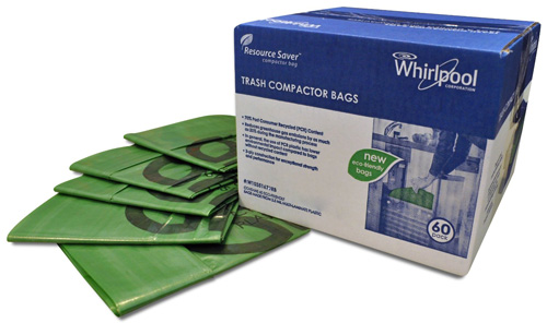 #10.Whirlpool W10351677RB 18-Inch Plastic Compactor Bags, 60 Packs
