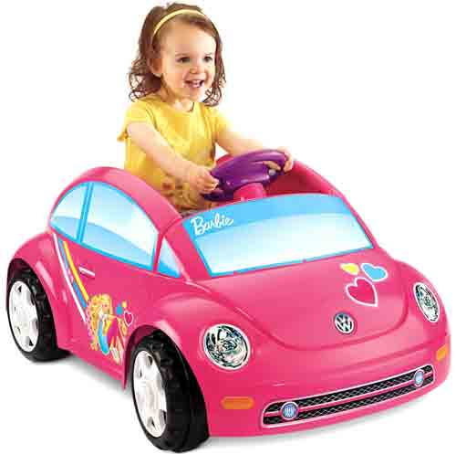#9. Fisher-Price Power Wheels Barbie Volkswagen Beetle Toy Car
