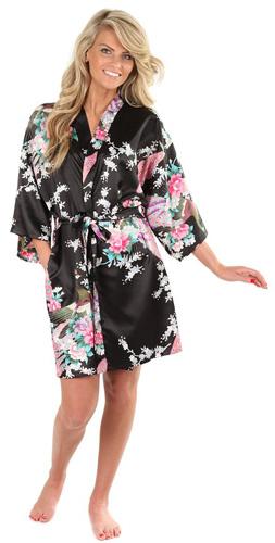 #6. VEAMI Women's Peacock Design Kimono Robe