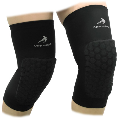 #1. Padded Knee Sleeves (1 Pair) Protective Compression Wear - Men & Women Basketball Brace Support, Best Basketball Knee Pads in 2019 Reviews