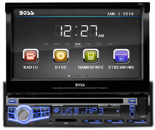 #6. BOSS AUDIO BV9976B Single-DIN 7 inch Motorized Touchscreen DVD Player