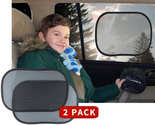 #5.Kassa Car Window Sun Shades Static Cling UV Protection, Set of 2