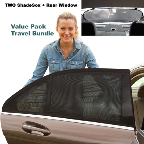 #9.Premiuym Rear Window Sun Shade PLUS Two (2) ShadeSox Universal Fit Car Window Baby Sun Shades!| Universal Baby Sun Shade Travel Kit Bundle(3 Piece ) For Cars and SUV's | Bonus Travel eBook Included!