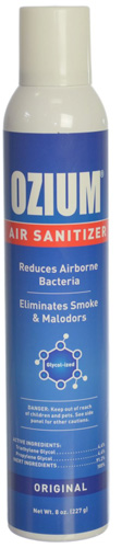 #2.Ozium Air Sanitizer Reduces Air Borne Bacteria Eliminates Smoke & Malodors 8oz Spray Air Freshener, Original