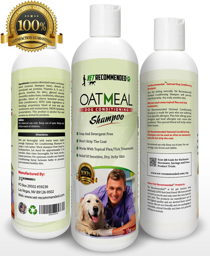 #10. Vet Recommended - Oatmeal Dog Shampoo - Natural Relief for Dry Itchy Dog and Won't Strip the Coat