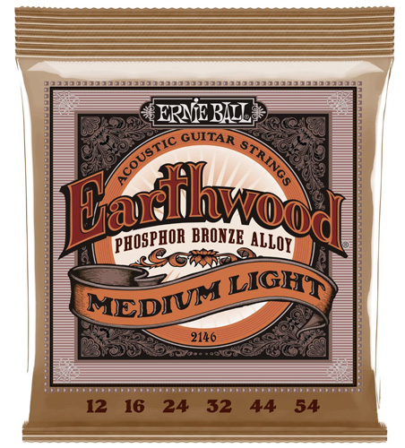 #3. Ernie Ball 2146 Earthwood Medium Light Acoustic Phosphor Bronze String Set (12 - 54)