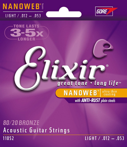 #2. Elixir Strings Acoustic 80/20 Bronze Guitar Strings with NANOWEB Coating, Light (.012-.053)