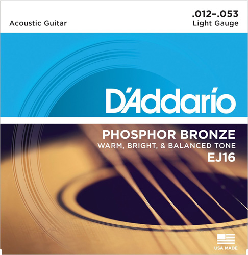 #6. D'Addario EJ16 Phosphor Bronze Acoustic Guitar Strings, Light