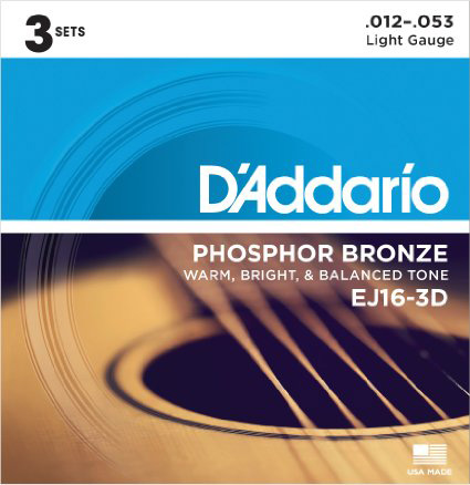 #1. D'Addario EJ16-3D Phosphor Bronze Acoustic Guitar Strings, Light, 3 Sets