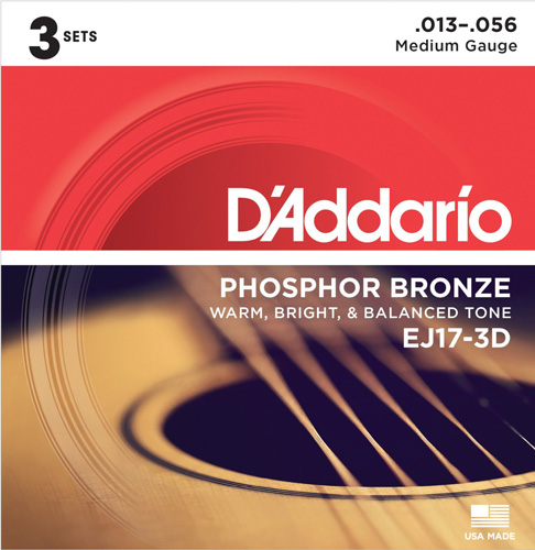 #7. D'Addario EJ17-3D Phosphor Bronze Acoustic Guitar Strings, Medium, 13-56, 3 Sets
