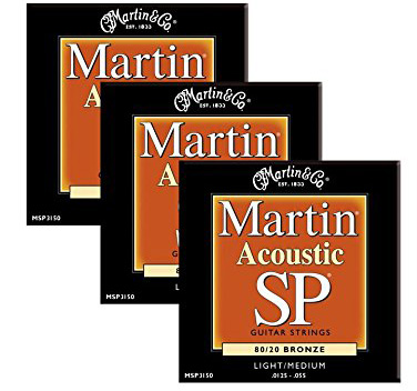 #10. Martin MSP3150 Studio aPerformance 80/20 Bronze Light/Medium Acoustic Guitar Strings - THREE PACK
