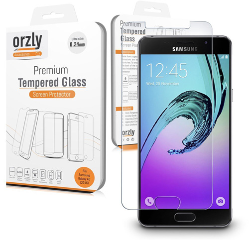 #1. Orzly - Premium Tempered Glass Screen Protector for SAMSUNG GALAXY A5 2016 Smartphone