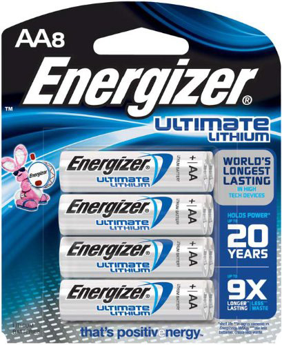 #4. Energizer Ultimate Lithium AA Batteries, World's Longest Lasting Battery for High-Tech Devices, 8 count