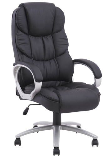 #1. Black Pu Leather High Back Executive Office Chair